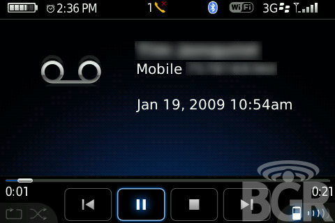 Screen Shot of Visual Voice Mail on Blackberry Bold